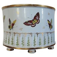 Antique Early 19th century English Spode Bough Pot Vase Planter Decorated with Butterflies