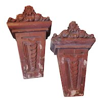 Pair Antique 19th century Beaux Arts Faux Rouge Marble Corbels as Wall Bracket Shelves