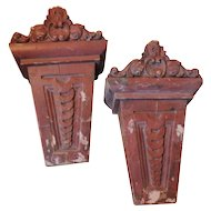 Pair Antique 19th century Beaux Arts Faux Rouge Marble Corbels as Wall Bracket Shelves