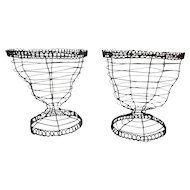 Pair Antique 19th century Folk Art Wire Work Basket Urns