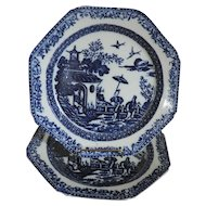 Pair Antique 19th century English Pearlware Blue & White Octagonal Plates in the Chinese Taste 1790