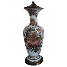 Large Antique 19th century Opaline Glass Baluster Shaped Vase with Hand Painted Flowers as a Lamp