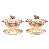 Pair Thomas Lakin Creamware Urn Form Pink Luster Sauce Tureens with Lion Finials 19th century
