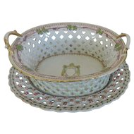 Antique Early 19th century Chinese Export Porcelain Chestnut Basket and Under Tray in Famille Rose Palette