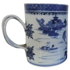 Large Antique 18th century Chinese Export Porcelain Tankard Mug in the Blue and White Nanking Pattern