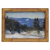 "Everett Warner Impressionist Oil Painting on Board Titled ""A December Day"" in Original Frame"