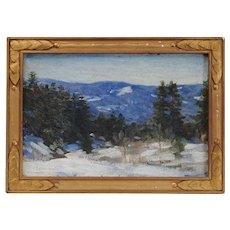 "Everett Warner Impressionist Oil Painting on Board Titled ""A December Day"" in Original Frame"