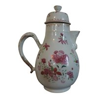 Antique 18th century Chinese Export Porcelain Coffee Pot in Famille Rose Palette
