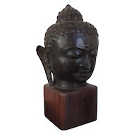 Large Antique 19th century Bronze Buddha Head Mounted on Mahogany Pedestal