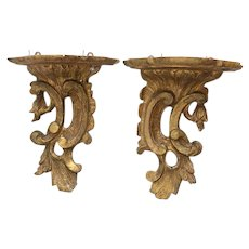Pair Antique 18th century Carved Giltwood Wall Brackets in the Chippendale Manner