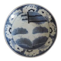 Antique 19th century Chinese Blue & White Porcelain Charger Plate