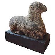 Antique 19th century American Folk Art Carved Stone Lamb Sculpture