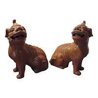 Pair Monumental Antique 19th century Chinese Temple Guardian Qilin Tiger Foo Dogs in Monochrome Ochre Glaze