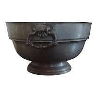 Antique 18th century English Pewter Punch or Fruit Bowl with Rococo Ring Handles