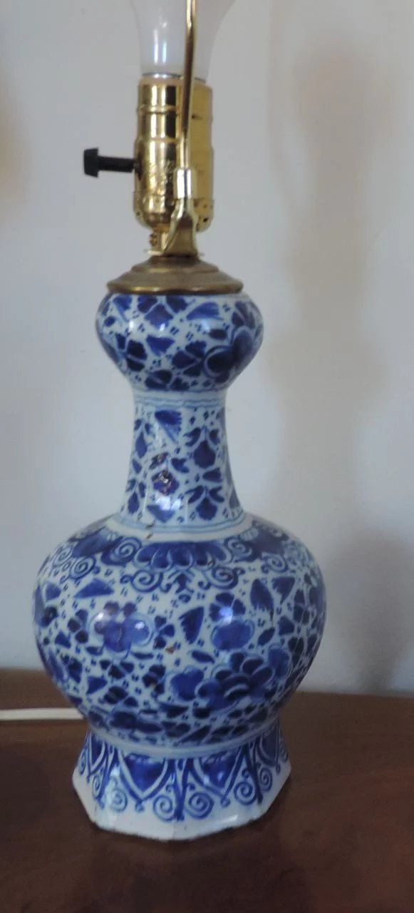 Antique 18th Century Delft Knobble Shaped Vase Mounted As