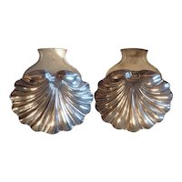 Large Pair Antique 18th c. English Georgian Old Sheffield Plate Silver on Copper Shell Form Serving Dishes