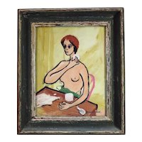 Frank W. Neal, African-American, 1915-1955 Gouache Painting Portrait of Semi-nude Woman Putting on Makeup Signed