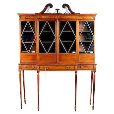 Antique Late 18th century English Georgian Mahogany Breakfront Collector's Cabinet or Bookcase on Stand