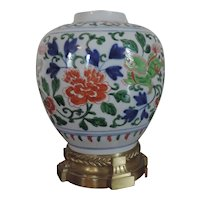 Antique 19th century Chinese Wucai Porcelain Vase Jar Mounted in French Ormolu
