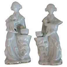 Pair Antique 19th century Chinese Blanc de Chine Porcelain Figures of Court Ladies as Incense Burners or Candlesticks