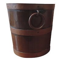 Antique Early 19th century English Regency Brass & Copper Peat Bucket with Ring Handles