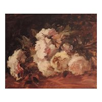 Antique 19th century Floral Impressionist Still Life Oil Painting on Board of Roses Signed Marcel Hess (1878 - 1948)