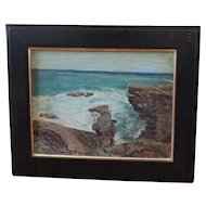 American Impressionist Maine Sea Coast Landscape Oil Painting