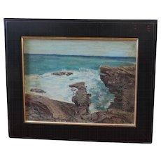 American Impressionist Maine Sea Coast Landscape Oil Painting