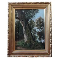 Antique 19th century Impressionist Landscape Oil Painting of a Tree Trunk in the Forest