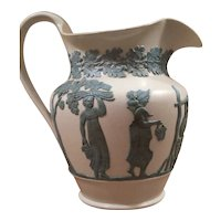 Large Antique Early 19th century English Neoclassical Stoneware Sprigged Jug Pitcher