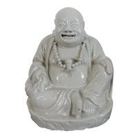 Antique 18th 19th century Chinese Blanc de Chine Monochrome Porcelain Buddha