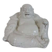 Antique 18th 19th century Chinese Porcelain Blanc de Chine Monochrome Figure of the Buddha