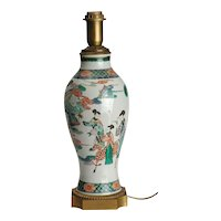 Large Antique 19th c. Chinese Famille Vert Porcelain Baluster Shaped Vase Mounted in Ormolu as a Lamp