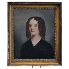 Early 19th century English Regency Oil Painting Portrait of a Young Girl in Brown Ringlets Original Gilt Wood Frame