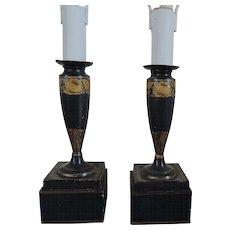 Pair Antique 19th century English Regency Tole Vase Shaped Candlestick Table Desk Lamps