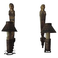 Pair Antique 18th century French Empire Tole Argand Wall Sconces in the Form of Diana 1800
