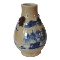 Small Antique 19th century Chinese Blue & White Crackle Glaze Porcelain Vase with Landscape Decoration and Foo Dog Handles