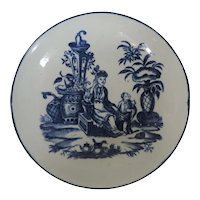 Antique 18th century Worcester Porcelain Saucer Dish in Blue & White in the Chinese Taste