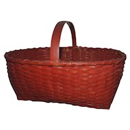 Antique 19th century American Hand Woven Red Paint Decorated Splint Basket