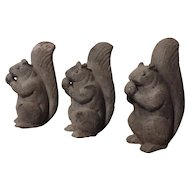 Group 3 Antique Lead Garden Ornaments in the Form of Squirrels with Acorns Early 20th c.