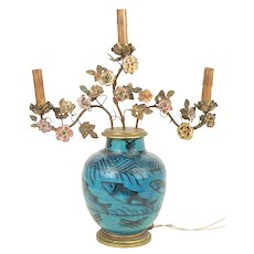 Antique 19th century Persian Turquoise Pottery Vase Decorated with Fish and French Mounted with Porcelain Flowers as a Lamp