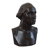 Antique Patinated Bronze Bust of President George Washington after Houdon