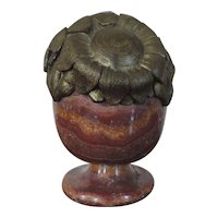 French Art Deco Gilt Bronze and Rouge Marble Urn Vase with Sunflowers