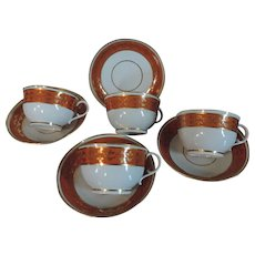 Set Four Extra Large Antique 18th century Worcester Flight Barr Orange Red Tea Cups and Saucers