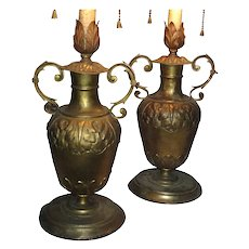 Pair Antique 19th century Baroque Italian Gilt Urn Form Candelabra now Electrified as Lamps