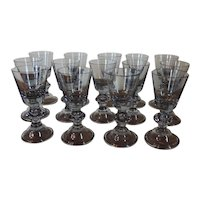 Set 14 Blown Lead Crystal Wine Glasses in the Georgian Taste
