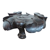 Antique 19th century Chinese Carved Wood Lotus Leaf Display Stand for Tripod Censer or Vase