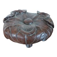 Antique 19th century Chinese Carved Wood Lotus Leaf Display Stand for Porcelain Tripod Censer or Vase