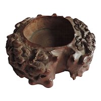 Antique 18th century Chinese Carved Wood Scholar's Water Pot Brush Washer Decorated with Pine Branches