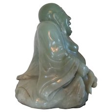 Large and Heavy 19th c. Carved Celadon Jade Figure of the Buddha - Weighs 29 Pounds